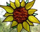 Stained Glass Sunflower. Beautiful yellow Wispy glass and brown antique glass.