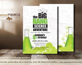 Mad Scientist Birthday Party Invitation - Printed OR Digital File - by peanutPRINTS