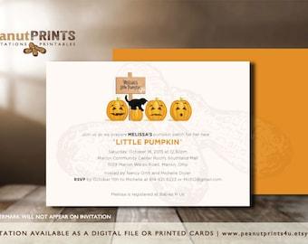 Little Pumpkin Baby Shower Invitation - Printed OR Digital File - by peanutPRINTS