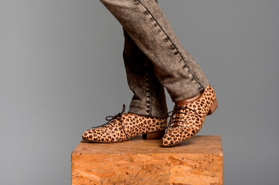 Leopard Print Leather Shoes / Tiger Printed Flat Shoes / Lacing Shoes / Cow Fur Shoes / Short Wood Heel Shoes / Every Day Shoes - Thomas