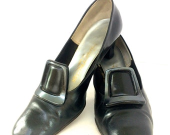 Vintage 1960's Black Leather Witch Pilgrim High Heels With Buckles | Spectrums By Selby Women Size 8