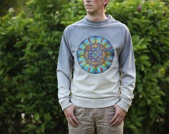 Dibujo de Mandala en ropa para hombre, ropa Yoga, Mandala impresión en camiseta, Mandala de colores, Jersey gris hombres, regalo perfecto para hombres
