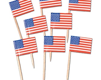 American Flag Food Picks - Cupcake Toppers - Party Supplies - Cupcake Decorations - Patriotoc Party - Adult Party - 4th of July