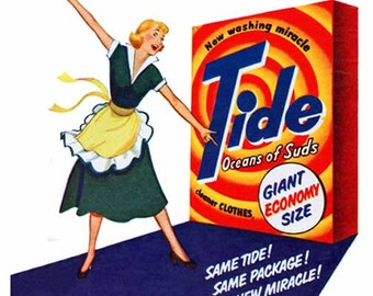 Digital Image - 1950 Tide Ad Clipping -Laundry Soap- 1950's Housewife in Apron Clip Art for Creative Designs & Ideas - Immediate Download!