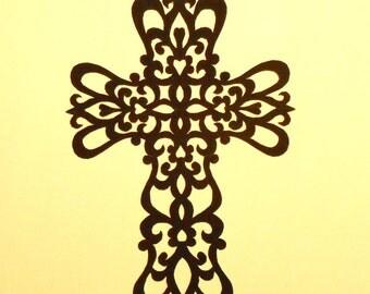 """Scrolls Cross, ORIGINAL ART Handmade Black Paper Cutting, Scherenschnitte, 5x7"""""""