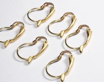20 Pcs Raw Brass Leverback Earring Hooks (12,5x18,5mm) Earring Hooks Findings - Earring Clasp , CMR120