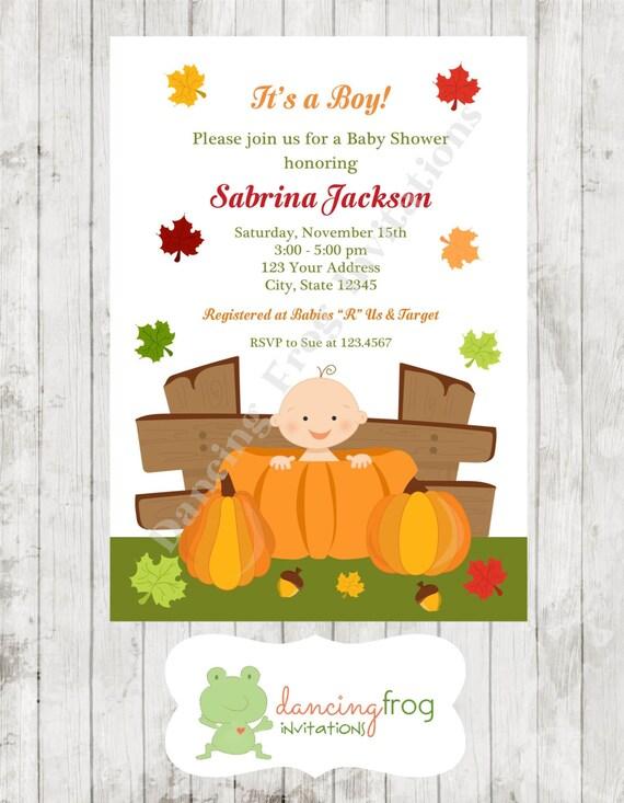 pumpkin fall baby shower shower invitation printed fall baby shower
