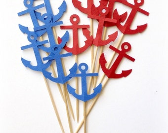 50 Red & Blue Anchor Cupcake Toppers, Food Picks or CHOOSE YOUR COLORS - Set of 50 pcs