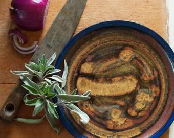 Dinner Plate in Midnight Gold glaze pattern - hand-thrown stoneware