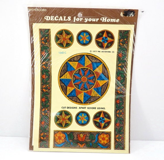 Green folk art pinwheel star vintage meyercord decal retro for Telephone mural 1970