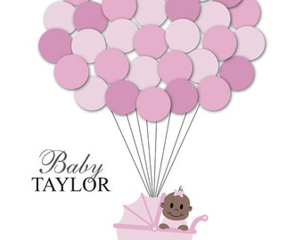 Baby Shower Guestbook Alternative Guest Sign In Ideas Stroller Balloons Poster Print Guest Sign Personalized Unique Creative Fun Original
