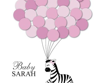 Baby Shower Guest Book Alternative Zebra Children Kids Birthday Balloons Poster Print Guest Sign Personalized Unique Creative Fun Original