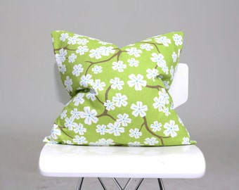 Cherry Blossom Pillow Cover, Floral Pillow, Green Pillow Cover, Decorative Pillow, Home Decor Pillow, Green Cushion Cover