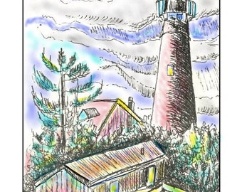 Lighthouse.  Blank Note Card.  Mixed Media.  Black/White or Color.  Customized message.