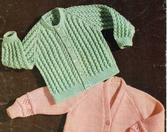 Vintage Baby Knitting Pattern PDF Baby Cardigans patterned ribbed jackets 22 inch DK light worsted 8ply PDF instant download