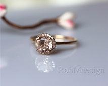 Round 7mm Morganite Engagement Ring Halo Diamond Ring 14k Gold Wedding Ring Promise Ring Pink Gemstone Ring