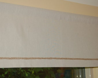 Linen Window Valance or small curtain with a natural jute crochet accent 16 inches tall x 20'',21'',22'',23'', 24'' or 25'' width