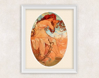 Art Nouveau Print - Summer by Alfons Mucha - Vintage Art - Home Decor - Office Art - 8x10 - Item #518