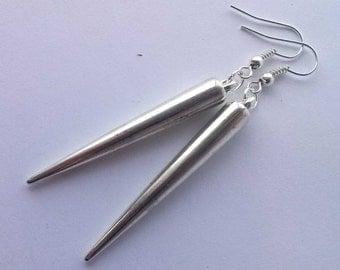 Silver Spike Earrings , Silver Earrings , Shiny Spike Earrings , Dangling Earrings , Gothic Earrings , Gothic Jewelry , Punk Earrings
