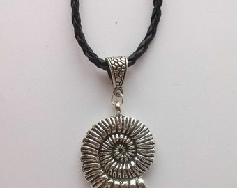 Ammonite Necklace , Tribal Necklace , Leather Necklace , Fossil Necklace , Silver Necklace , Black Necklace , Handmade Jewelry , Gift
