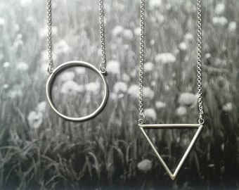 circle and triangle pendants