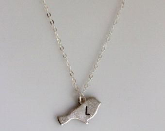Silver Initial Bird Necklace, Birds Initial Necklace, Personalized Initial Jewelry, Mom Jewelry, Silver Bird Jewelry