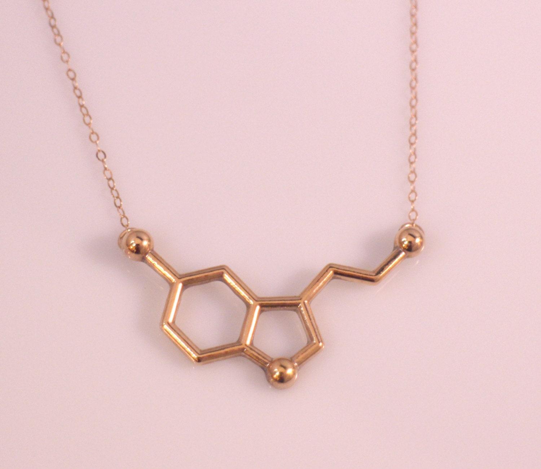 gold serotonin molecule necklace chemistry by
