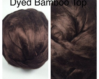 Dyed Bamboo Top Espresso / Dyed Bamboo Roving Brown / Felting Fiber / Spinning Fiber / 2oz 4oz 8oz