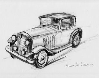 Classic Car Drawing Original Print Expensive Automobile Old Timer Car Collector Vintage Car Illustration Ink Sketch Home Decor Black & White