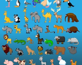 Digital Clipart 42 PNG Image Safari Funny Cartoon Animals Party Clip Art Scrapbooking Invitations Graphic INSTANT DOWNLOAD Printable 300 dpi
