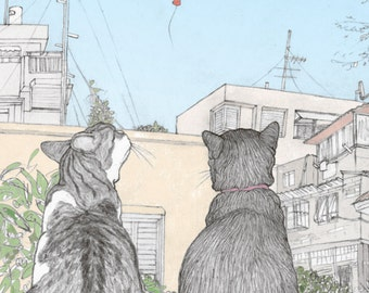 Illustrated 'Pride' Postcard featuring Rafi and Spageti, the famous Israeli cats from Ha'aretz Newspaper Comics