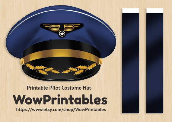 Pilot Hat Template Pilot Costume Hat Printable