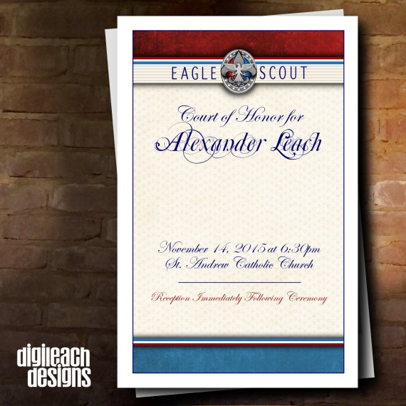 Eagle scout court of honor program cover formal patriotic for Eagle scout court of honor program template