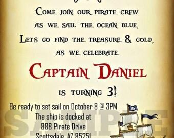 Pirate Invitation - Printable Invite- Digital Invite - Birthday Party - Personalized Customized