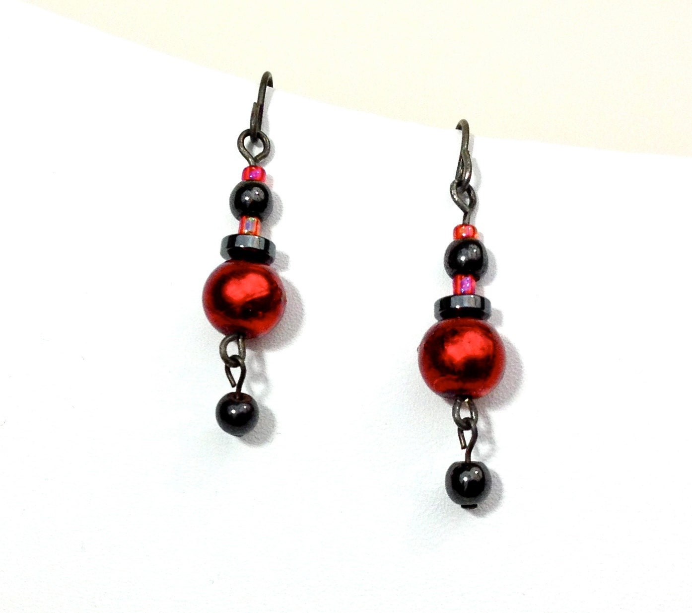 black earrings hematite drop earring with