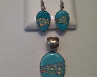 Turquoise and Opal Earrings and Pendant Set