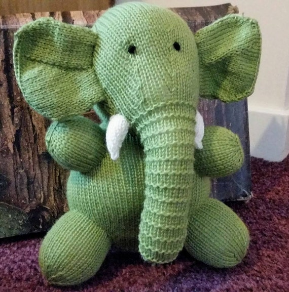 Cuddly Hand Knitted Toy Elephant by DinkyWitchKnits on Etsy