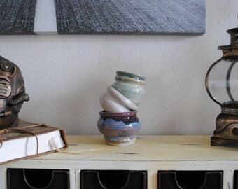 Set of three stoneware bowls/pots