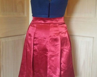 Red Satin Pleated Skirt