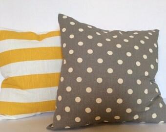 18x18 Polka Dot Pillow,Striped Pillow Covers,Gray Pillow,Yellow Pillow,Sham,Throw Pillow,decorative Pillow,Toss Pillow,Accent Pillow,cushion