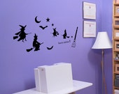 Halloween Wall Decal Flying Witch Harry Sticker hst-0348
