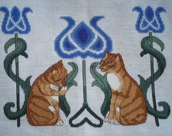 KL17 Tile Cats Cross Stitch Kit