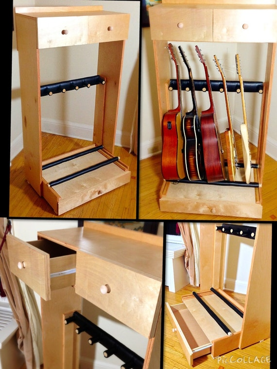 items similar to multiple guitar stand with drawers and shelf on etsy. Black Bedroom Furniture Sets. Home Design Ideas