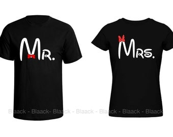 Couple T-shirt - Mr. & Mrs. - 2 Couple  Tees - Matching Love Crewneck T-shirts