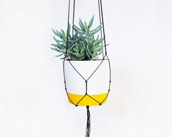 Yellow Pot & Macrame Hanger, Hand Painted, Large