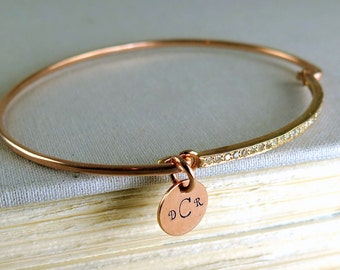Rose Gold Bracelet, Unique, Rose Gold Diamond Bracelet, Pave Diamond Bracelet, Personalized Initial Bracelets For Women, Anniversary Gift