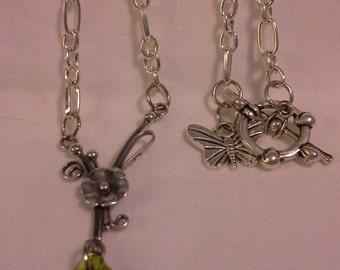 Vintage Designed Olivine Crystal Necklace = N 121