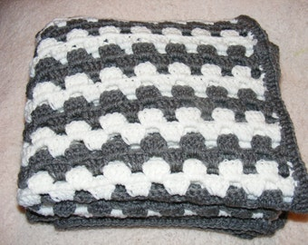 Oversized Baby Blanket-Gray and White-Crocheted-Handmade-Granny Stitch