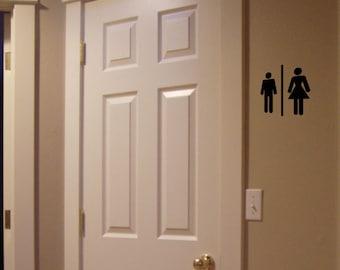 Men/Women Bathroom Door Decal - Guest Bathroom Home Decor Vinyl Wall Decal