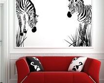 Wild Zebra Grass African Wall Decal Sticker Transfer Stencil Mural Art Wall Stickers